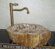 Holzwaschbecken aus fossilem Holz Unikat