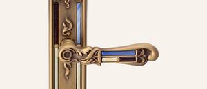 Vintage Tiffany Vetro Design Brüniert Einsätze blau-beige
